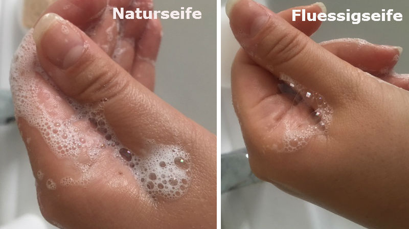 Naturseife verglichen mit Flüssigseife